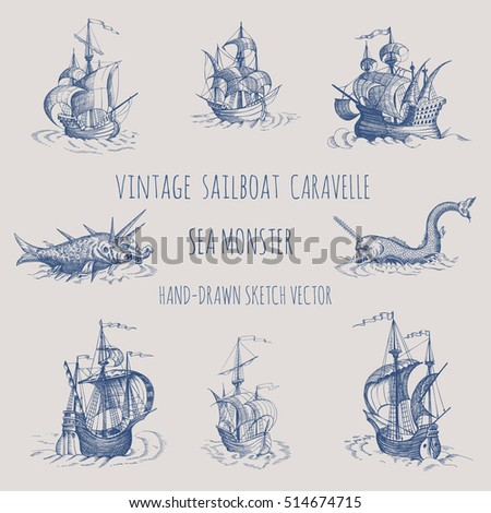 old caravel  vintage sailboat