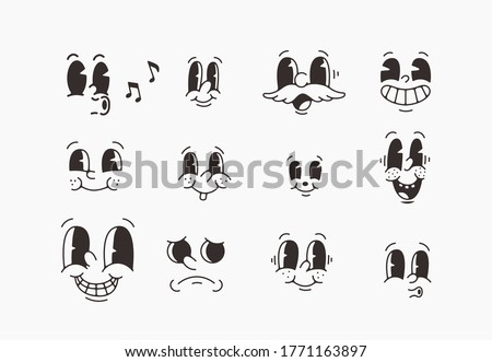 old cartoon mascot character elements. different clipart, faces, limbs. character creator for vintage retro logos and branding. isolated vector illustrations