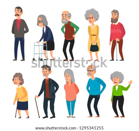 Old cartoon seniors. Aged people, wrinkled senior grandfather and walking grandmother with gray hair. Elderly mature people, cheerful seniors oldies isolated icons illustration set