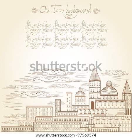 old castle town engraving background