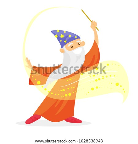 Old caucasian white magician in a hat and a long cape waving magic wand. Wizard with long white beard holding a magic wand. Vector cartoon illustration isolated on white background. Square layout. Stockfoto ©