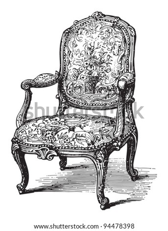 Old chair (fauteuil) / vintage illustrations from Meyers Konversations-Lexikon 1897