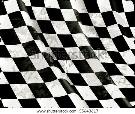 Old Checkered Flags, vector - stock vector