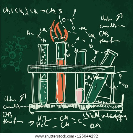 Old chemistry laboratory seamless pattern on dark green school board. Vector background