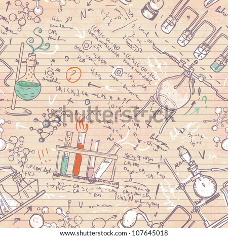 Old chemistry laboratory seamless pattern. Vector background in vintage style