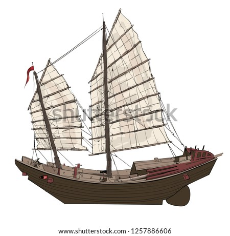 old chinese junk   vector
