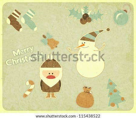 Old Christmas postcard. Santa Claus, snowman and Christmas decorations on a Vintage background. Vector illustration.