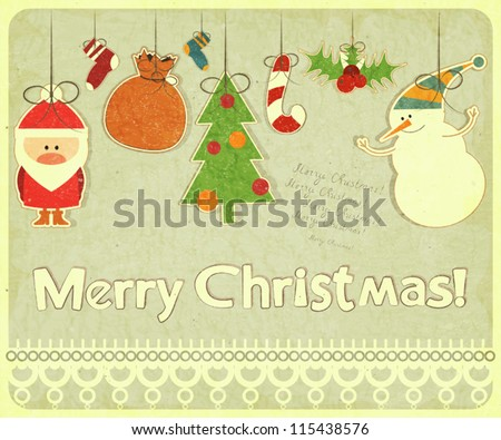 Old Christmas postcard with Christmas-tree decorations. Santa Claus, snowman and Christmas decorations on a Vintage background. Vector illustration.