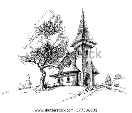 old church sketch artistic