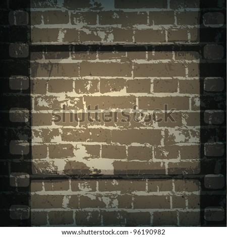 Old cinema abstract background. Film strip on brick wall.