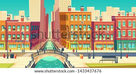 Old city district in modern metropolis cartoon vector. Outdoor cafeteria on embankment, grocery store, bar signboards on retro architecture buildings facades, road, arch bridge over river illustration