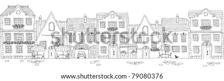 old city facades (line art)