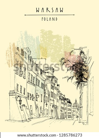 Old city in Warsaw, Poland, Europe. Cobblestone street in historical town. Historical buildings, tenement houses. European city drawing. Vintage travel hand drawn postcard. Vector illustration