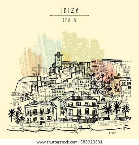 old city of ibiza town ...