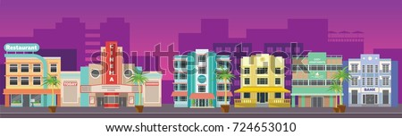 Old city retro Miami skyline panorama at sunset.  Cartoon game location. Background for games apps or mobile development.