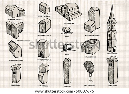 Old city set (icon or isolated objects)