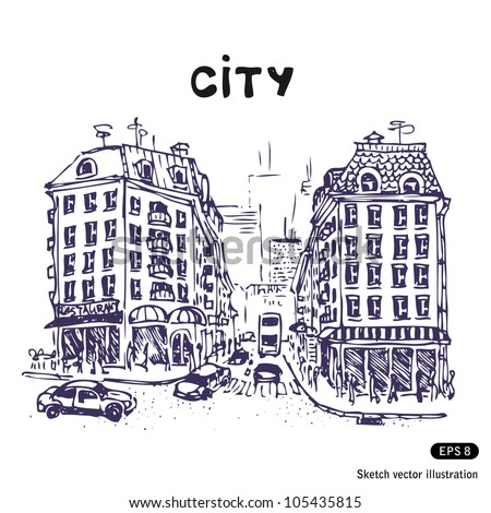 Old city street. Hand drawn sketch illustration isolated on white background