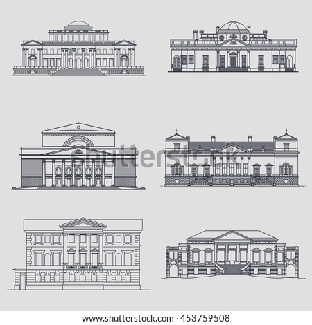 old classic buildings facades