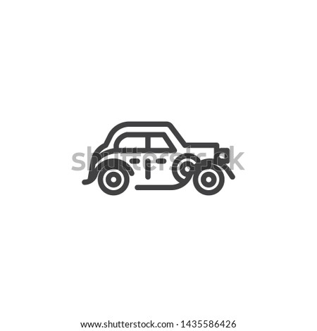old classic car line icon