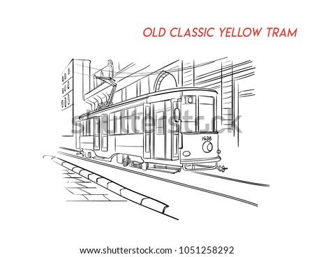 old classic yellow tram illustration vector