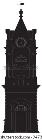 Old clock tower silhouette