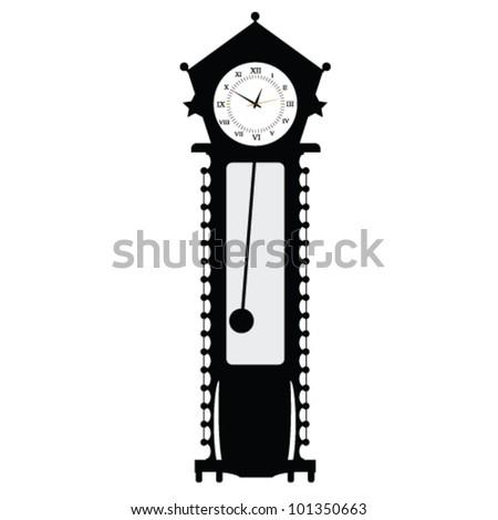 old clock vector illustration of art in black color