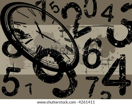 Old clock with number and  a grunge background