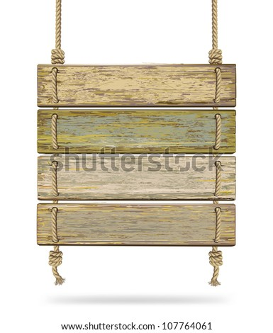Old color wooden board with rope. Vector illustration