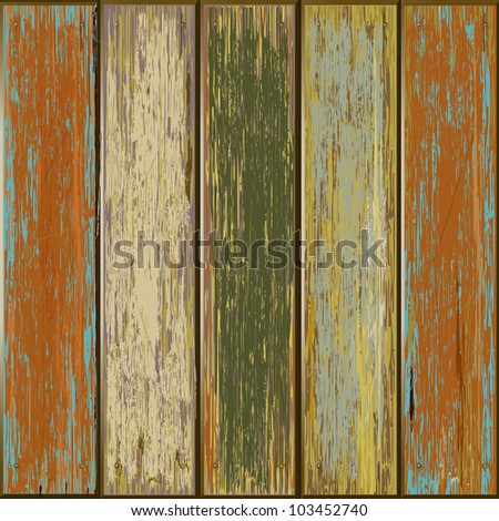 Old color wooden texture background. vector illustrator