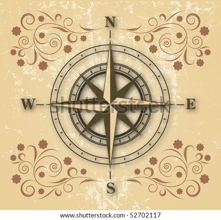 old compass on floral background