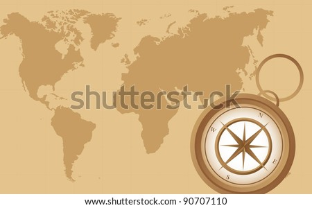 old compass on old map background. vector illustration