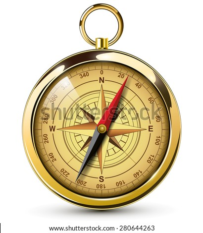 Old compass with windrose Vector Illustration