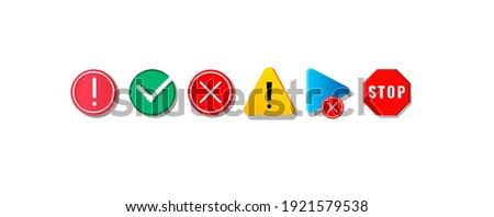 Old computer icons. Abstract colorful pixel art symbols set. Stop or warning signs, isolated digital media player button and completed or rejected task round marks. Vector retro outline flat pointers