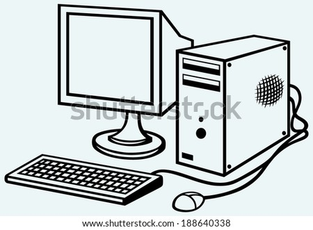 old computer isolated on blue