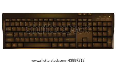 Old computer keyboard with letters and numbers in chocolate brown tones