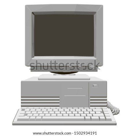 Old computer with a large monitor, system unit and keyboard. Polygonal retro computer. Front view. 3D. Vector illustration.
