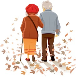 Old Couple in Love Walking Together Vector Illustration Vector drawing of a senior man and woman on the path of life