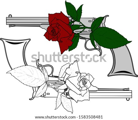 old cowboy revolver and rose