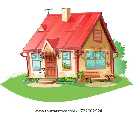 Old cozy rural house. Vector is isolated on a white background. Village, suburb. Fairytale cute cartoon home. Flat detailed style. Beautiful building.