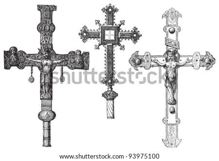 Old crosses / vintage illustration from Meyers Konversations-Lexikon 1897