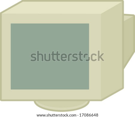 old crt computer monitor - stock vector