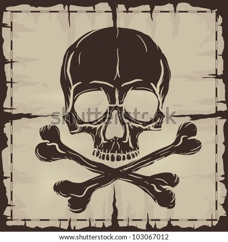 Old damaged map with Skull and Crossbones. Vector illustration.
