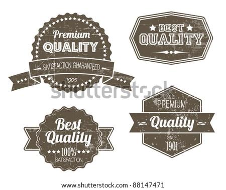 Old dark retro vintage grunge labels - premium quality - stock vector