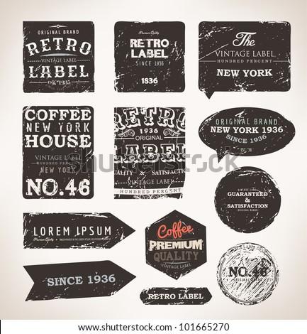 Old dark retro vintage grunge labels set, dirty texture