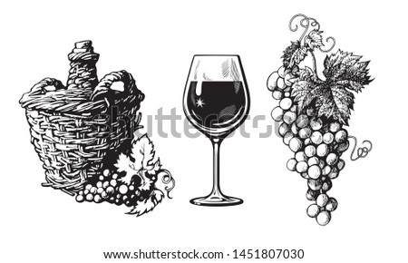 Old demijohn, glass of wine, bunch of grapes in vintage engraving style. Set of  wine related hand drawn elements. Vector illustration Isolated on white background