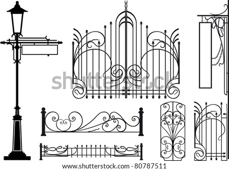 Old design elements of city streets. Silhouettes isolated on white