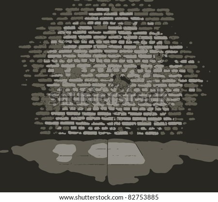 old dirty interior with brick wall, vintage background