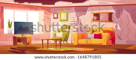 Old dirty living room with broken furniture. Vector cartoon illustration of empty abandoned home interior with mess, torn couch upholstery, crashed television and broken wooden floor