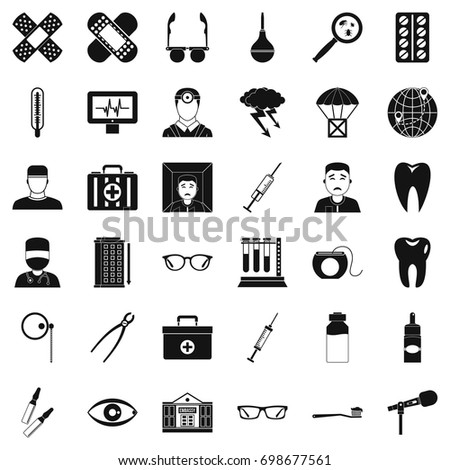 old doctor icons set simple