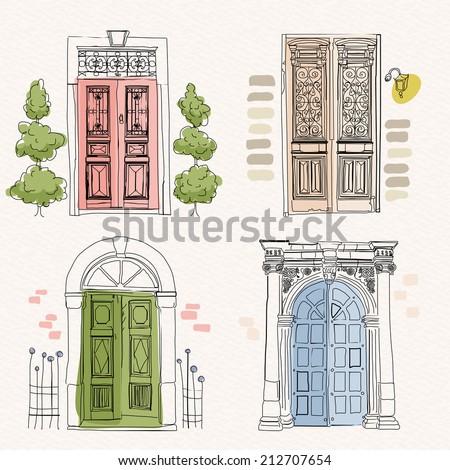 old doors in vintage style on...